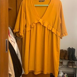 Yellow Ruffled shift dress